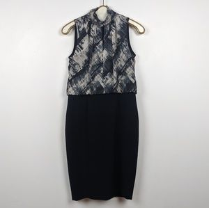 Lafayette 148 Black and Gray Pencil Dress - size 4